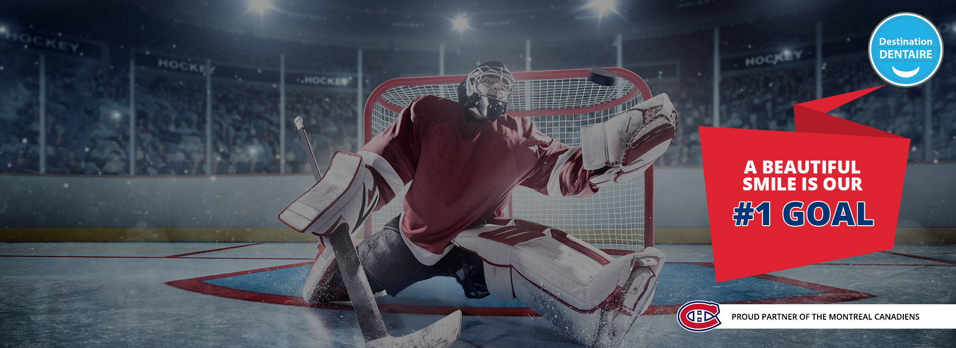 A Montreal Canadiens goalie making a glove save to highlight the partnership with Destination Dentaire.